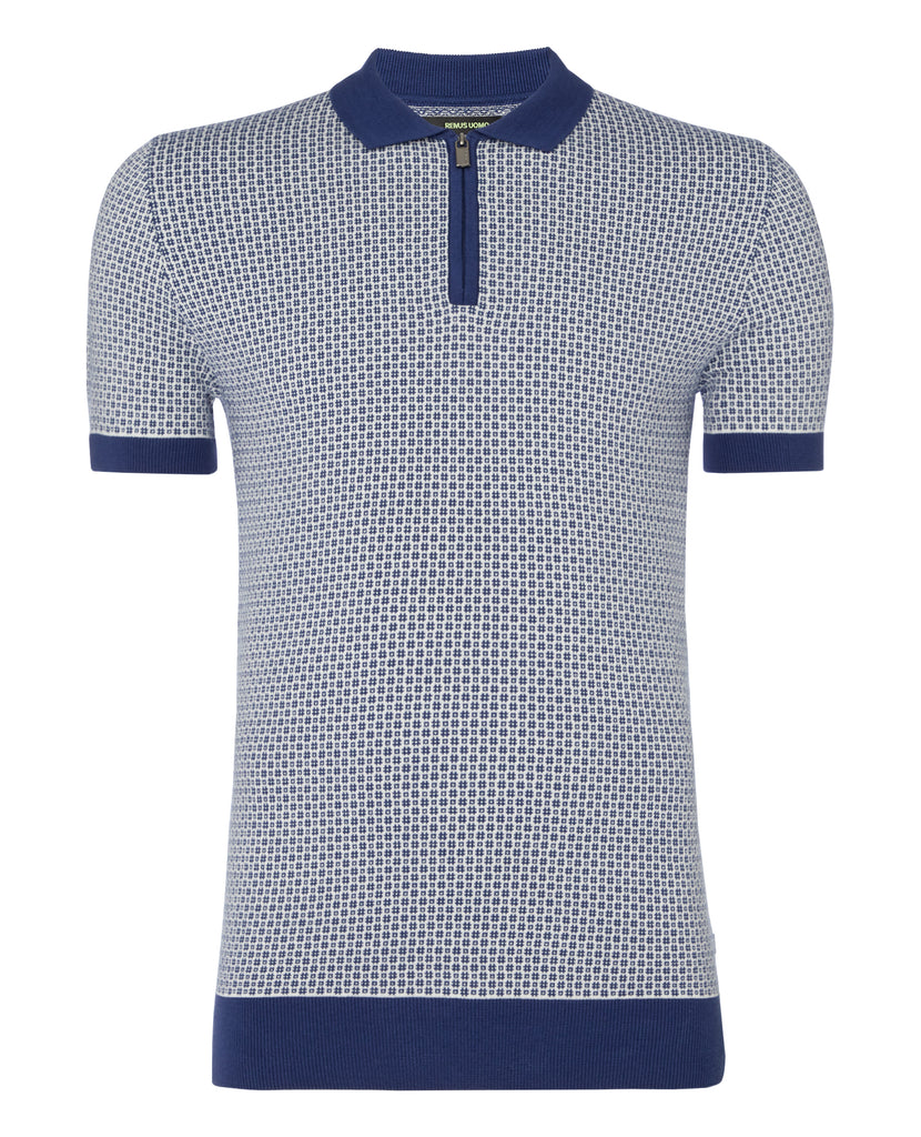 Blue & White Hashtag Pattern Knitted Polo Shirt