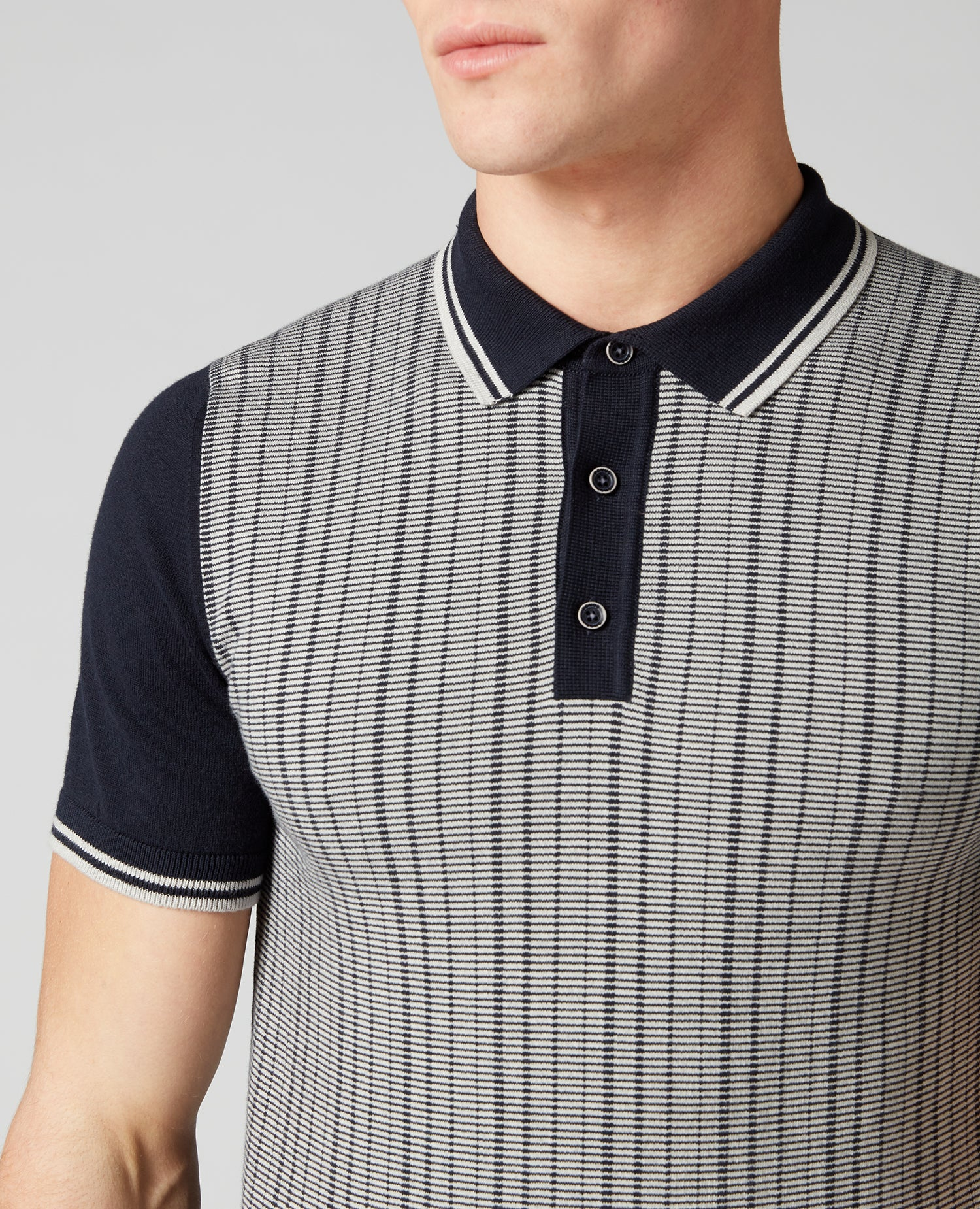 Grey & Navy Notched Stripe Knitted Polo Shirt