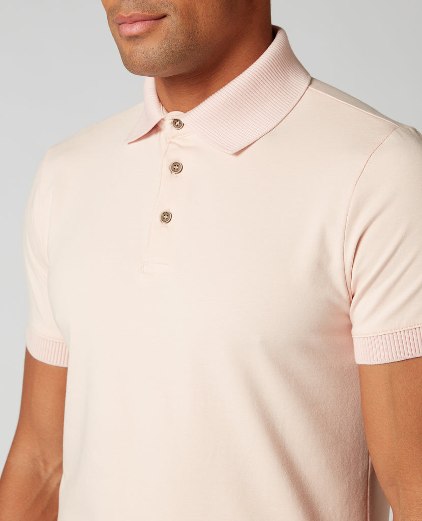 Pastel Peach Textured Collar Polo Shirt