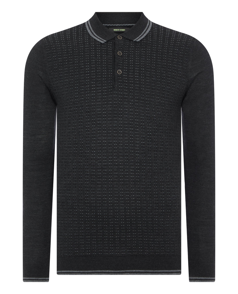 Charcoal Grey Dotted Long-Sleeved Knitted Polo Shirt