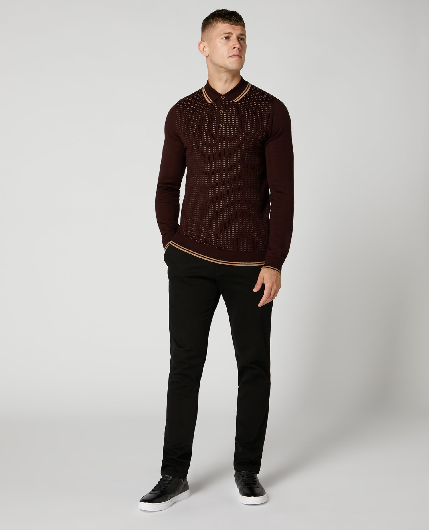 Burgundy Dotted Long-Sleeved Knitted Polo Shirt