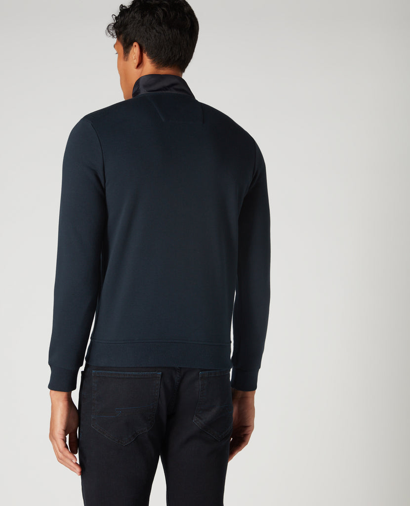 Navy Panel Zip Casual Jacket