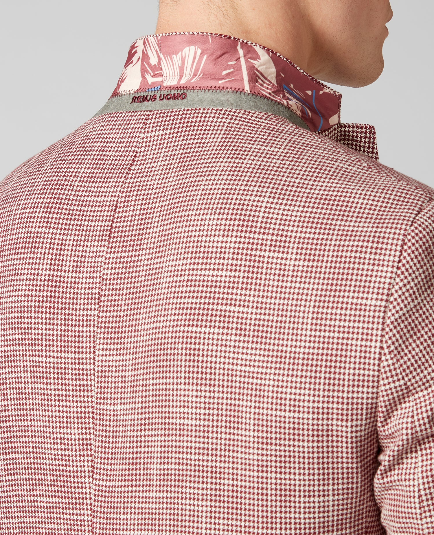 Novara Red & White Houndstooth Pattern Blazer