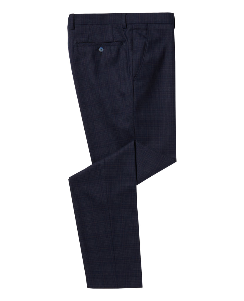 Lanito Navy Check Suit Trousers