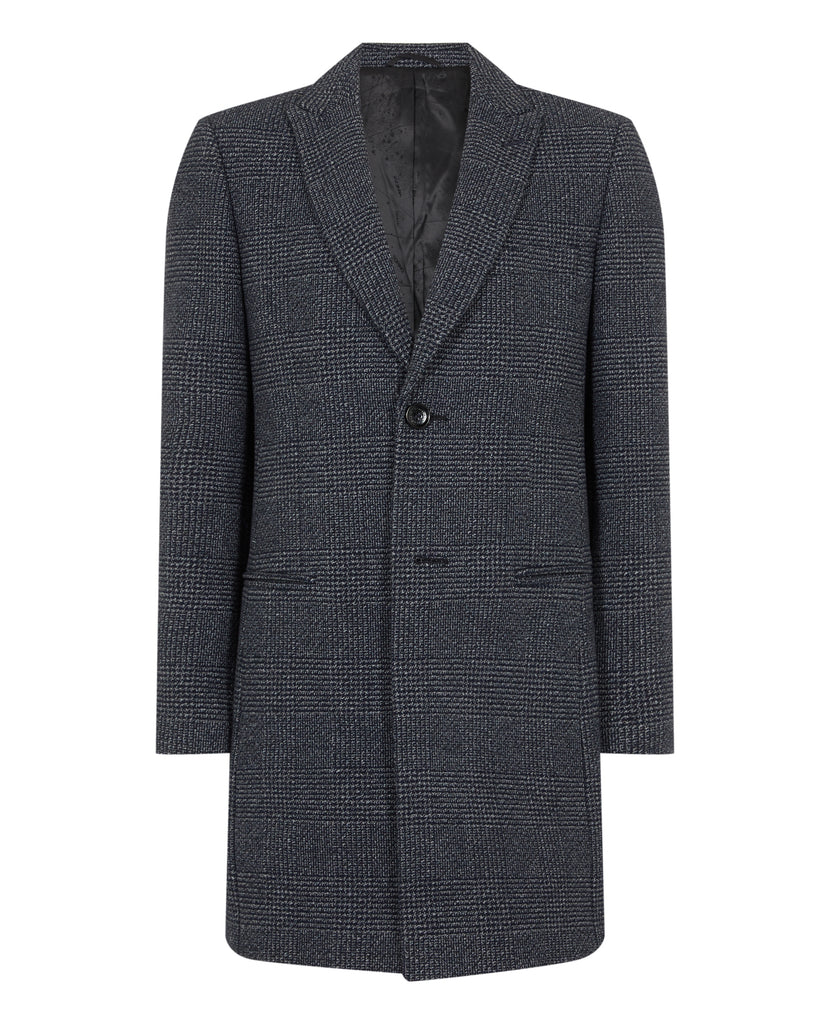 Kane Navy Prince Of Wales Check Overcoat