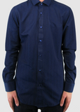 Dark Blue Paisley Print Shirt