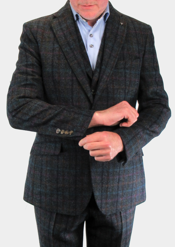 Grey With Multicolour Check Tweed Suit Waistcoat