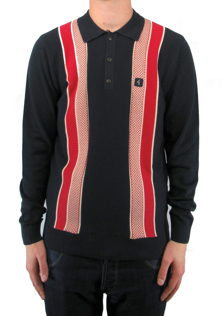 Croxted Navy & Red Striped Long-Sleeved Knitted Polo Shirt