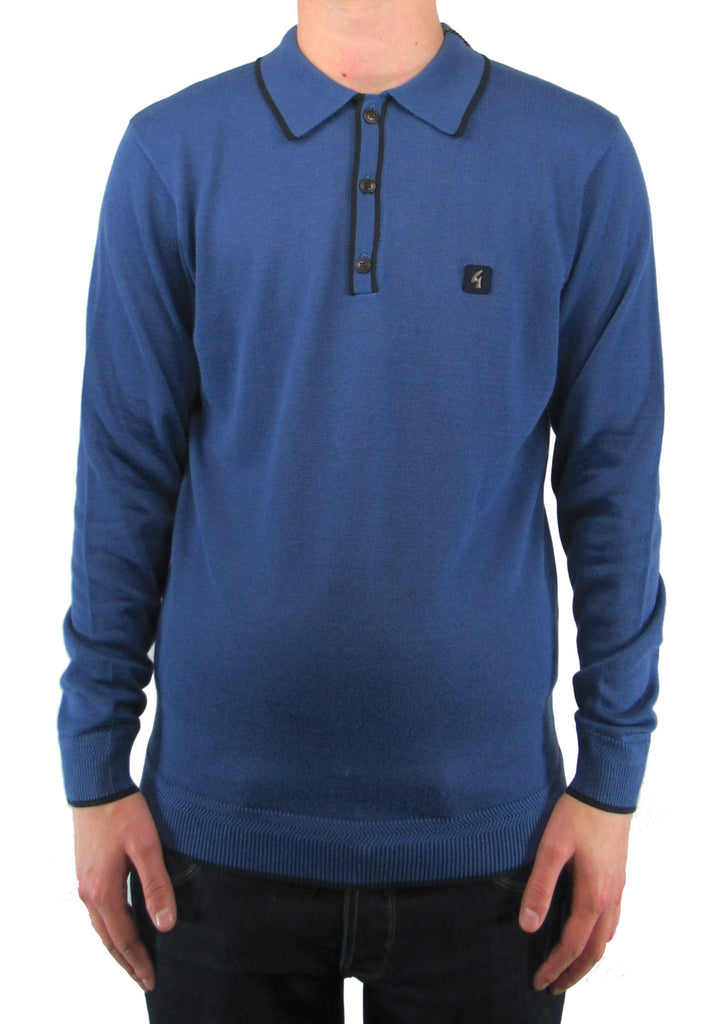 Lineker Riviera Blue & Navy Trim Long-Sleeved Knitted Polo Shirt