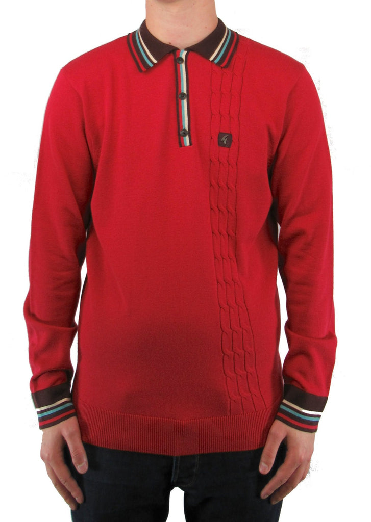 Turney Lava Red With Contrast Collar Long-Sleeved Knitted Polo Shirt