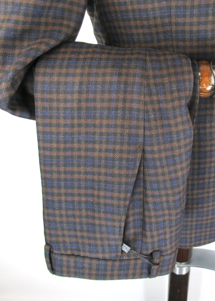 Brown With Navy Gingham Check Tweed Suit Trousers