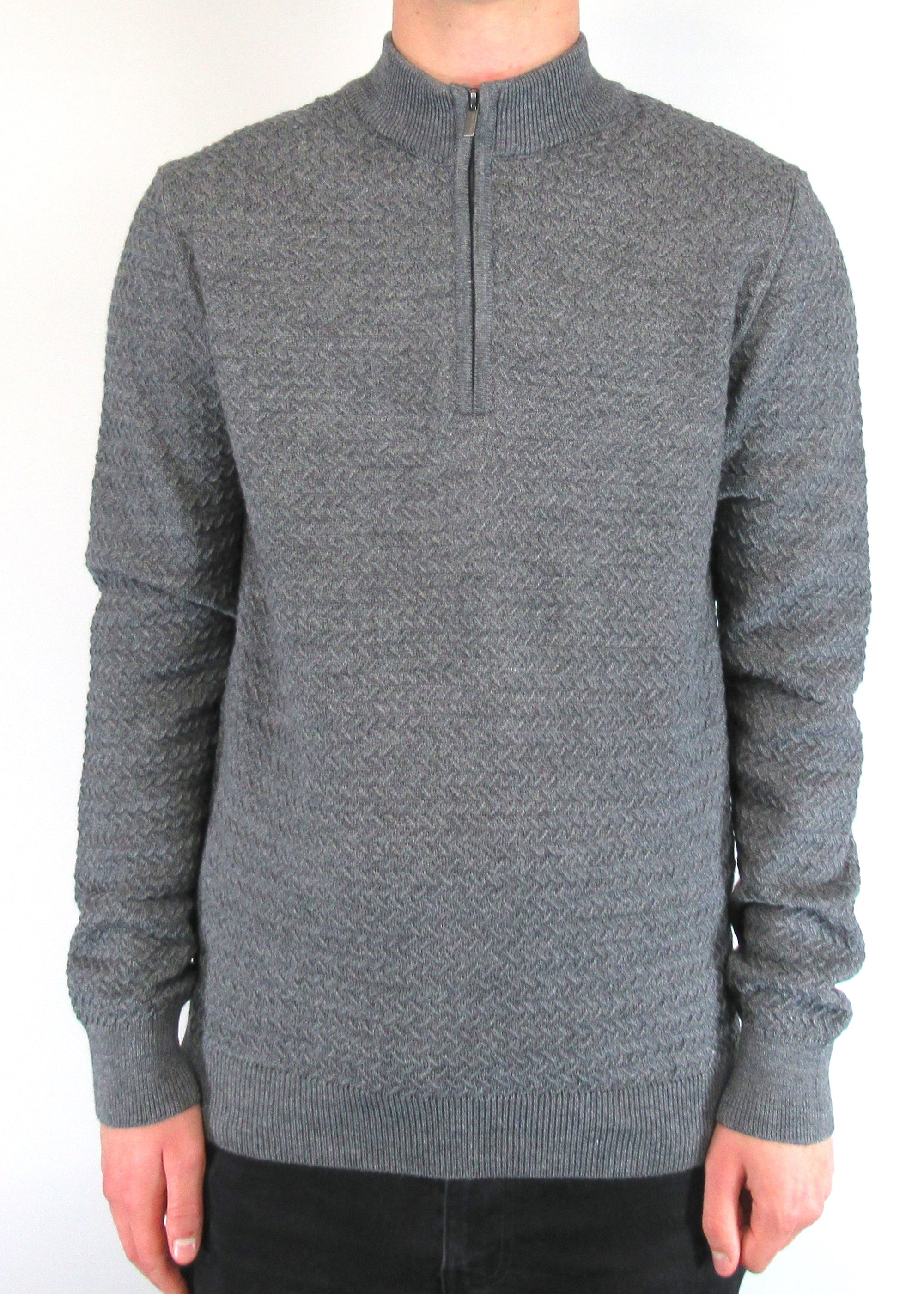 Grey Textured Half-Zip Turtle-Neck Jumper