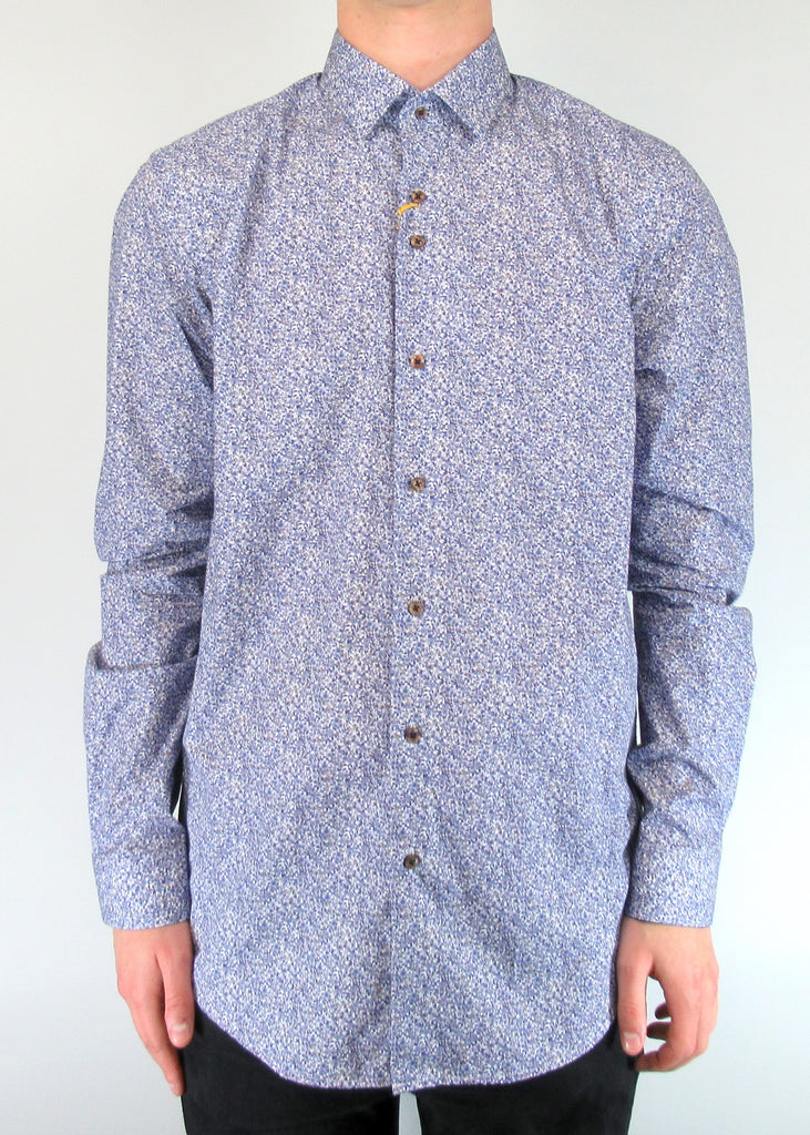 White With Blue Micro-Floral Print Shirt