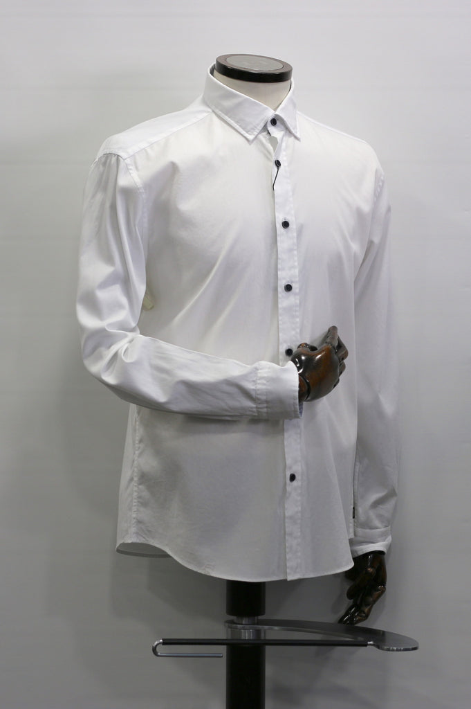 Plain White With Patterned Trim Casual Shirt
