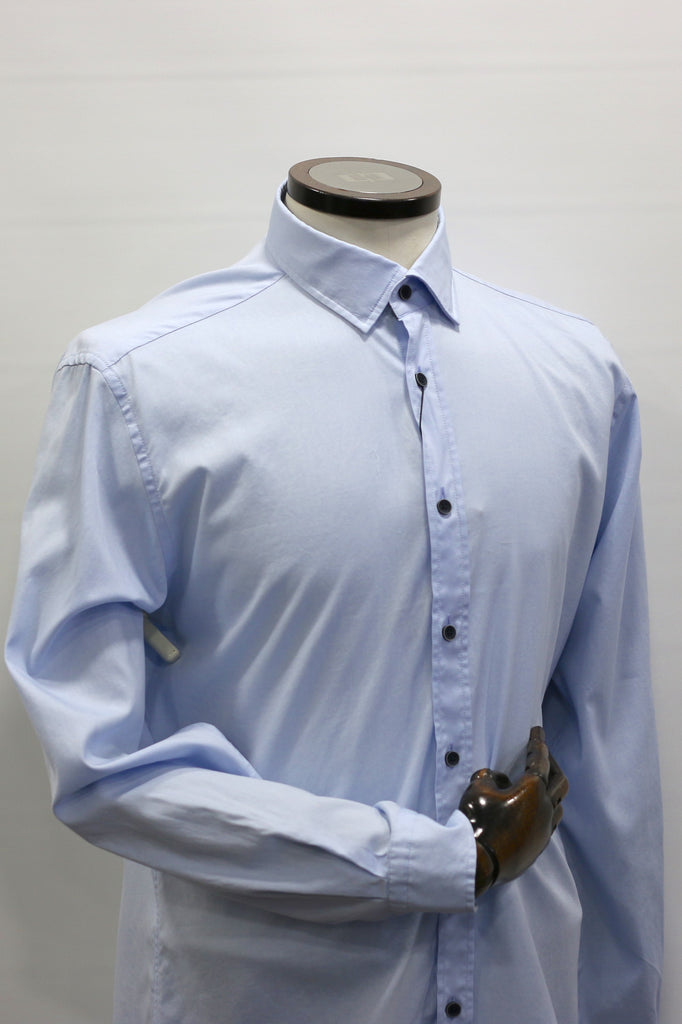 Plain Light Blue With Patterned Trim Casual Shirt