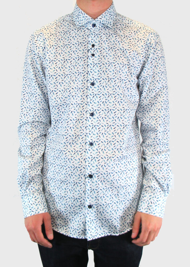 White With Blue Feather Print Shirt