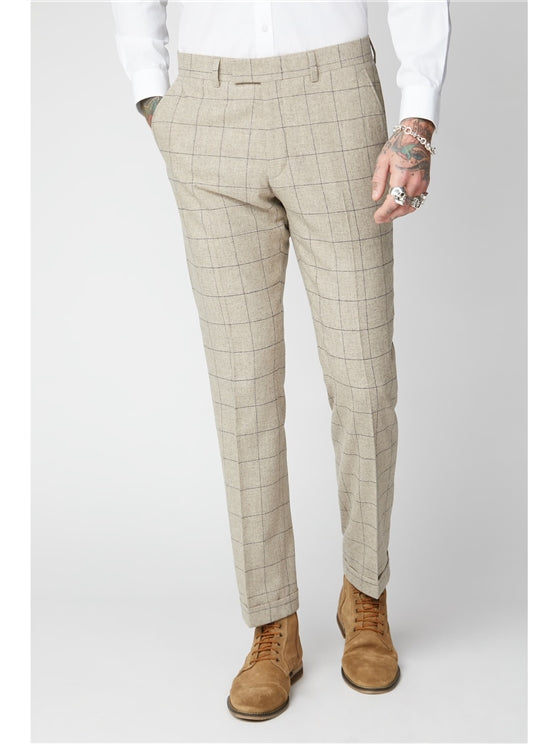 Stone Windowpane Check Suit Trousers