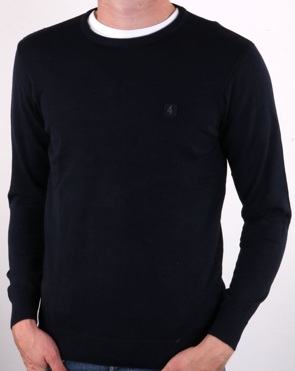 Cole Navy Knitted Crew-Neck Jumper