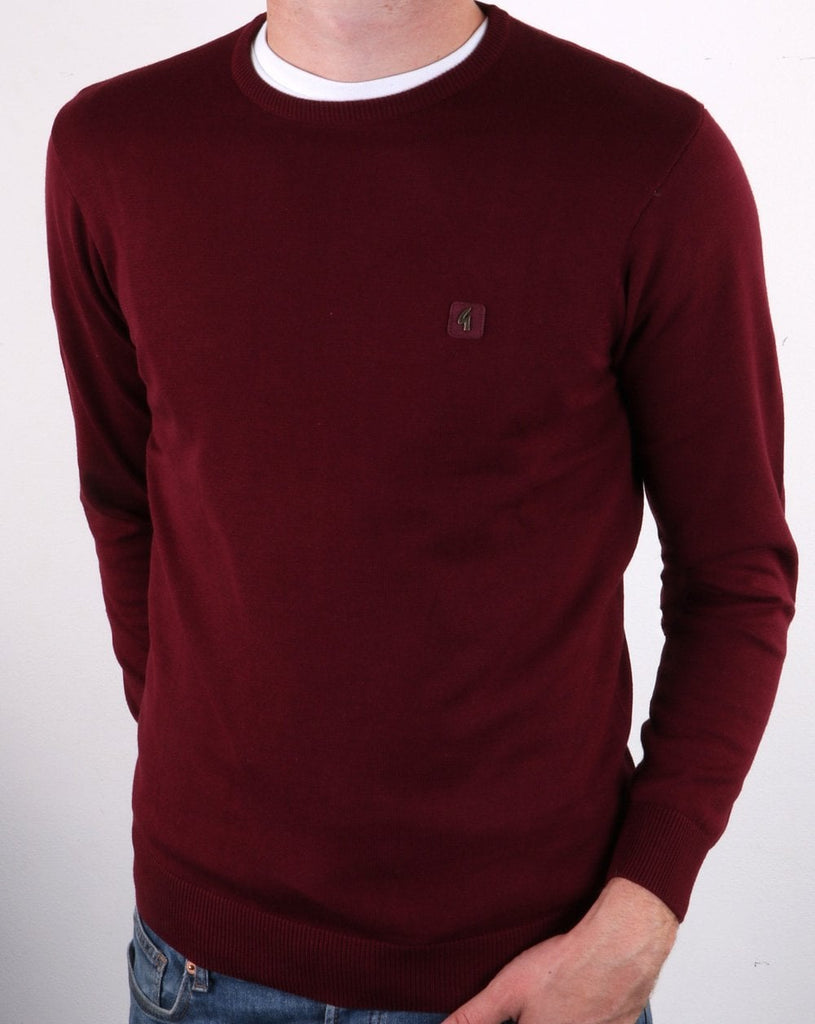 Cole Port Burgundy Knitted Crew-Neck Jumper