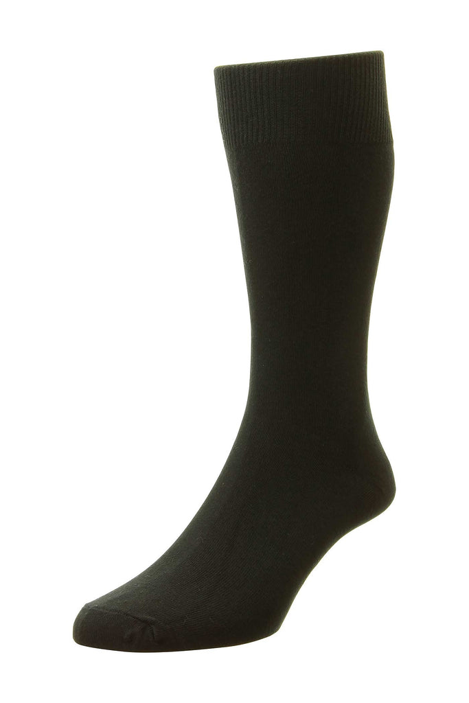 Solid Black Cotton-Rich Socks