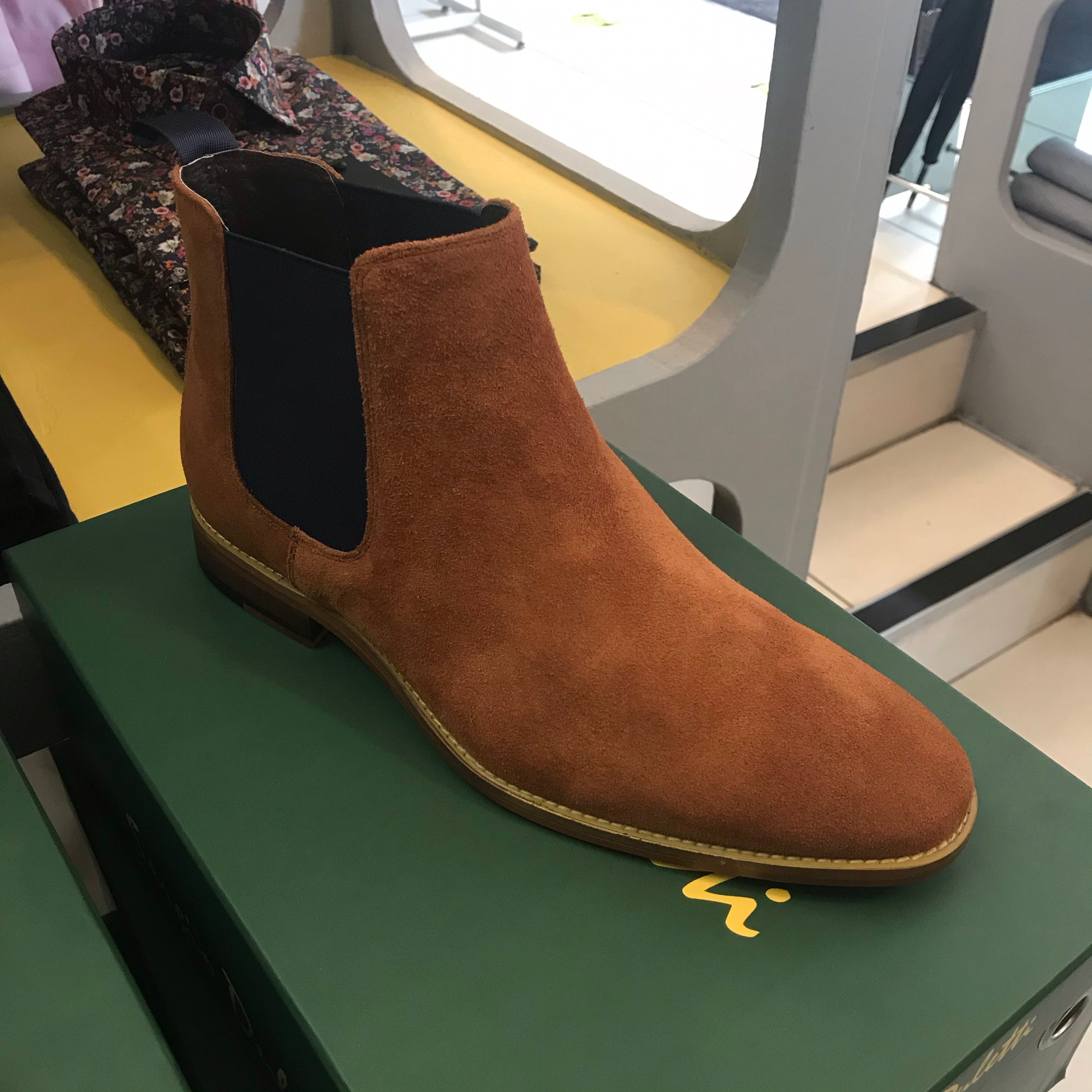 Simon Tan & Navy Suede Chelsea Boots