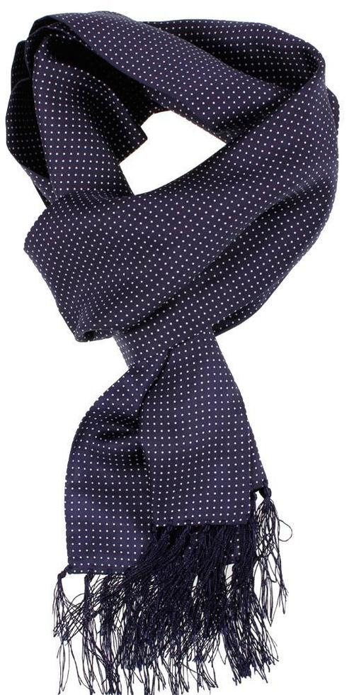 Navy & White Pin Dot Silk Aviator Scarf