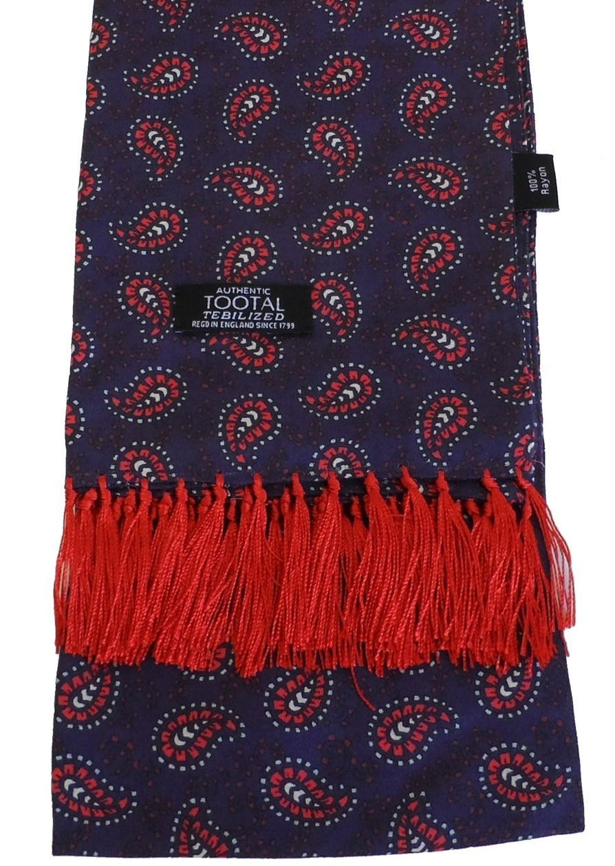 Navy & Red Paisley Rayon Aviator Scarf