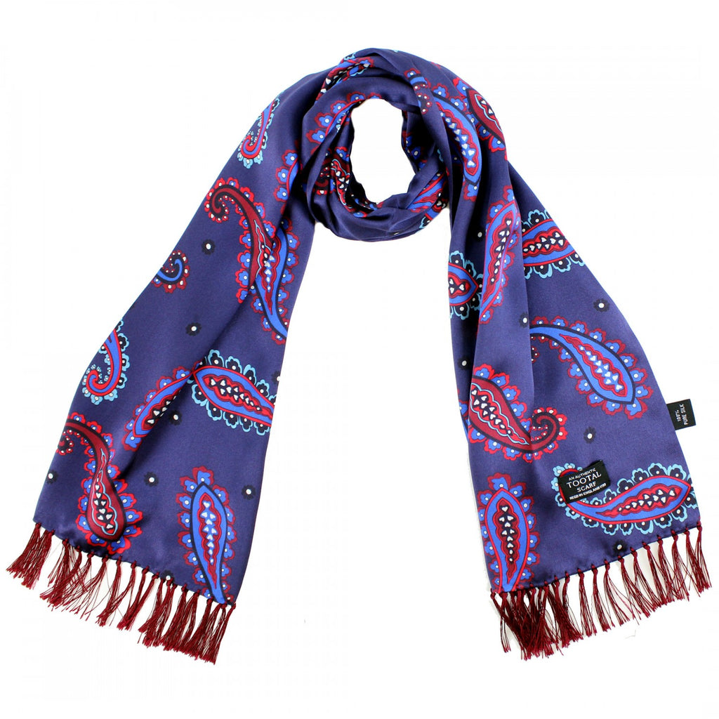 Navy, Blue & Burgundy Paisley Silk Aviator Scarf