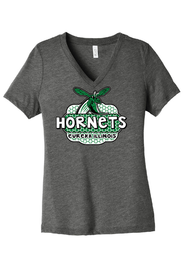Eureka Hornets Honeycomb Ladies V-Neck