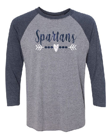 Glitter Spartans Heart Arrow Baseball Tee