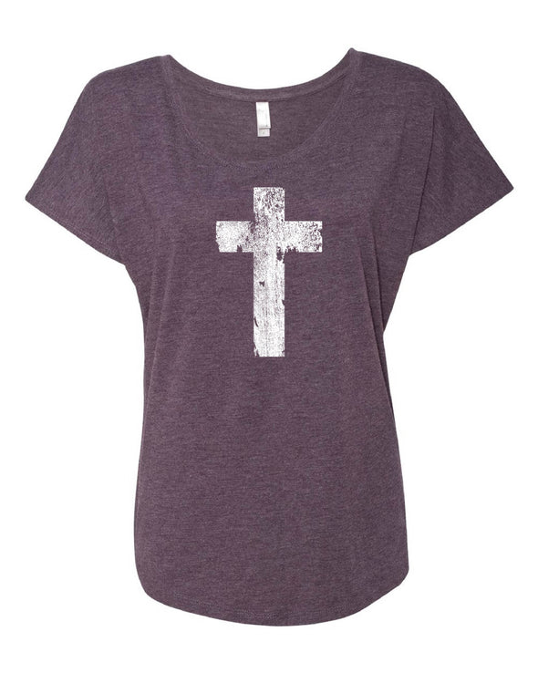 Distressed Cross Dolman Shirt
