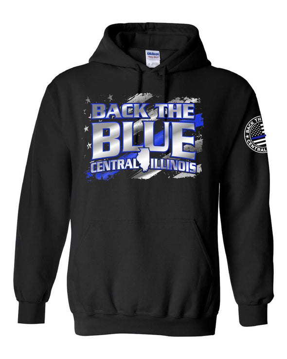 Back the Blue Central Illinois Sign Replica Hooded Sweatshirt