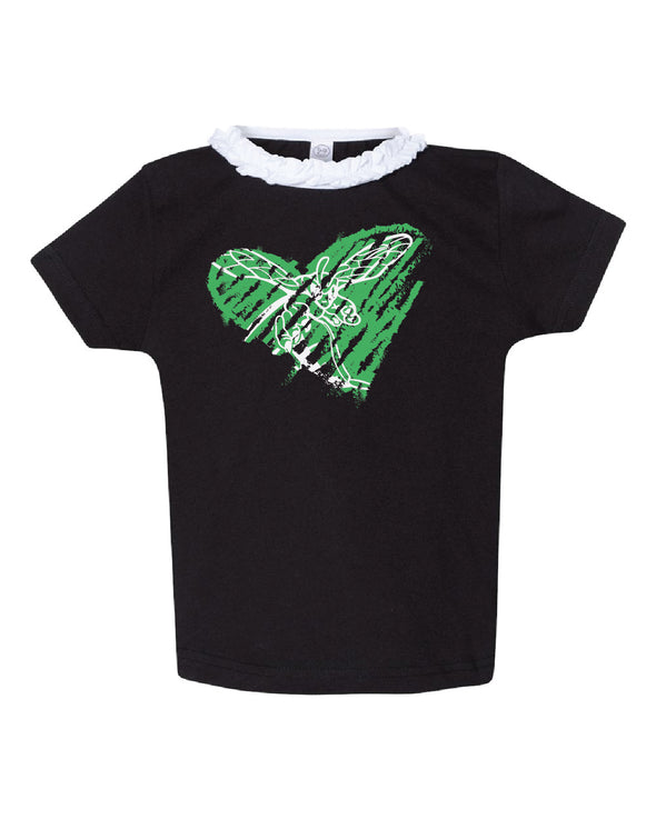 Hornet Scribble Heart Ruffle Youth Tee