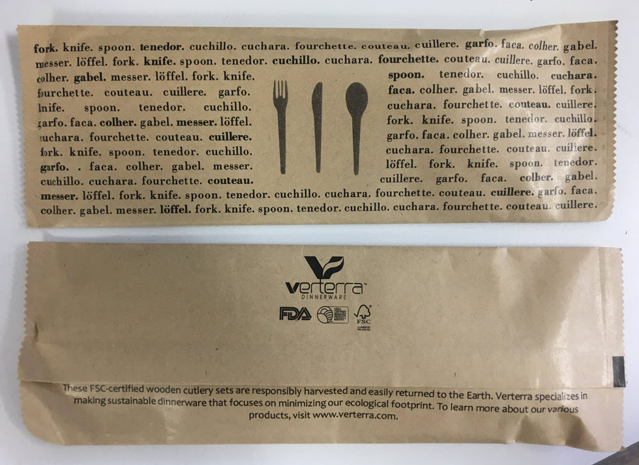 Wooden Cutlery Kit with Napkin (Fork, Knife, Spoon with Napkin) (25 count Retail pack)