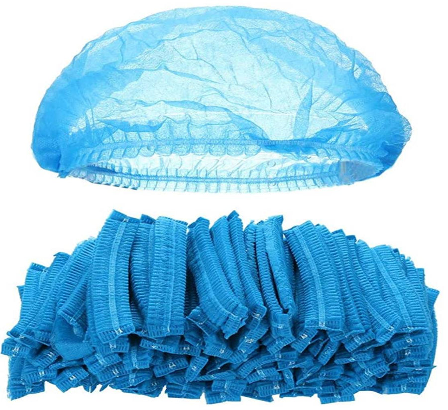 "21"" Blue Latex Free Polypropylene Accordian Bouffant Cap (2000 PIECES)"
