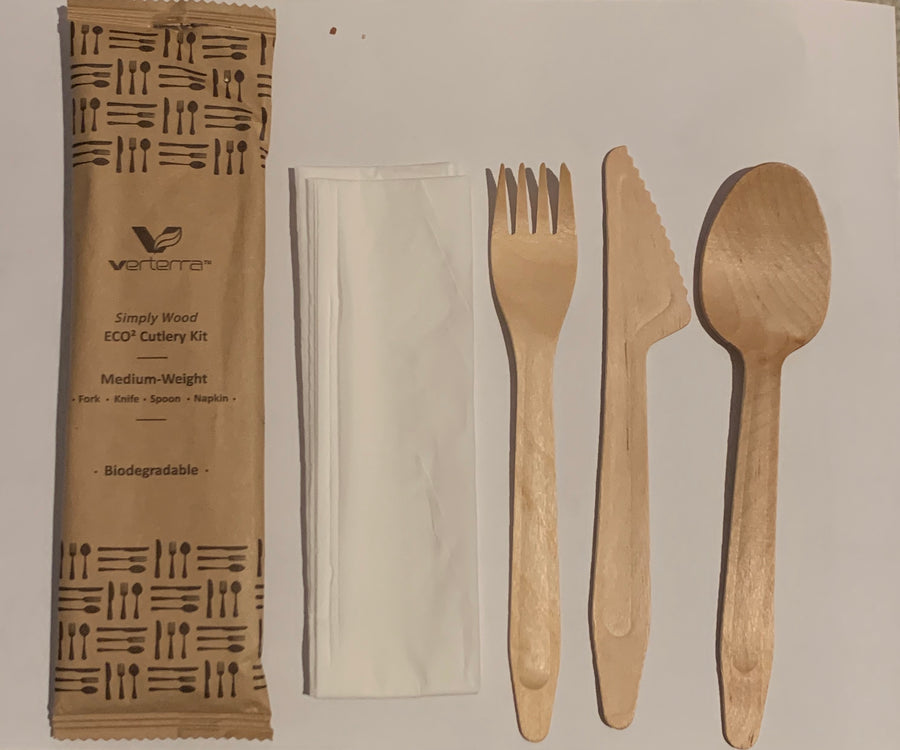 Medium Weight Wooden Cutlery Kit with Napkin (Fork, Knife, Spoon with Napkin) (25 count Retail pack)