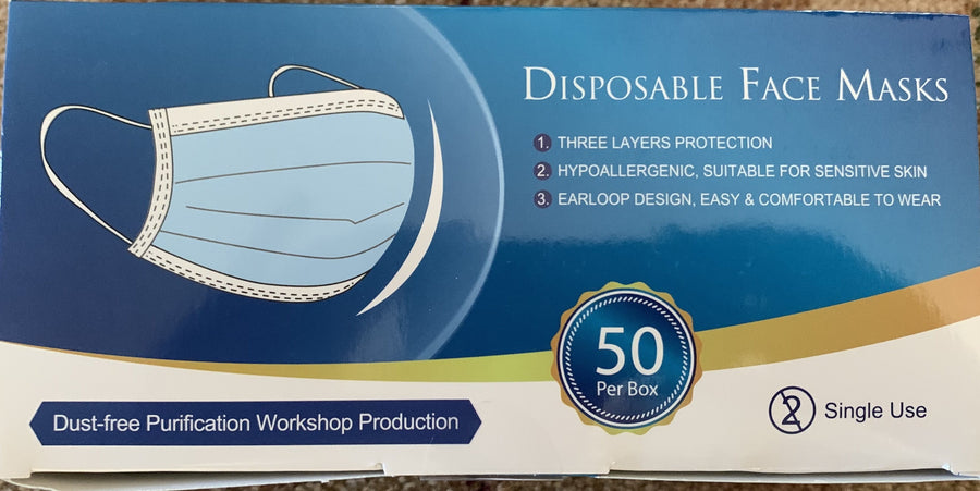 Full case of 2000 pieces 3ply Medical Mask (40 boxes of 50 pieces)-VerTerra Dinnerware