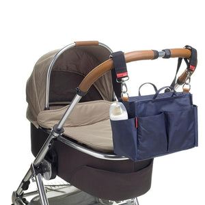 stroller organiser navy Bag on pram | pram caddy Changing Bag | Storksak – Award-winning Baby Changing Bags & Accessories