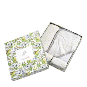 Bundle of Joy Gift Set for new baby in Bamboo and cotton with raindot print in box | muslin swaddle hooded towel and washcloth | Storksak – Award-winning Baby Changing Bags & Accessories