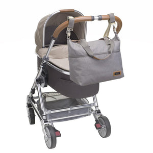 Storksak Travel Expandable tote Grey hospital bag on buggy | Maternity hospital bag | Storksak - Award-winning Baby Changing Bags & Accessories