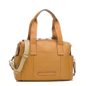 Kym Leather Tan Baby Changing Bag | Shoulder Bag Changing Bag | Storksak – Award-winning Baby Changing Bags & Accessories