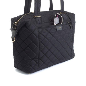 Stevie quilt black Baby Changing Bag | shoulder bag Changing Bag detailed view  | Storksak – Award-winning Baby Changing Bags & Accessories