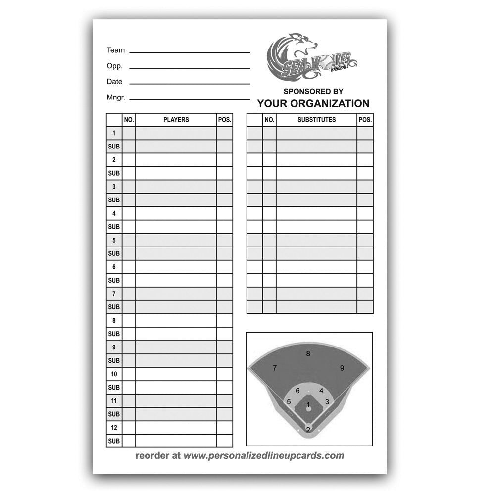 Personalized Baseball & Softball Lineup & Dugout Cards