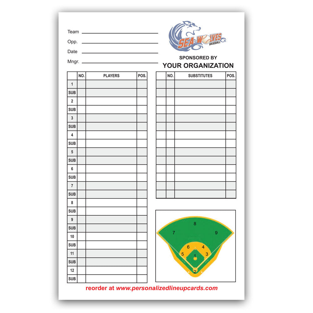 Personalized Baseball Softball Lineup Dugout Cards With Your – Sponsorship Cards