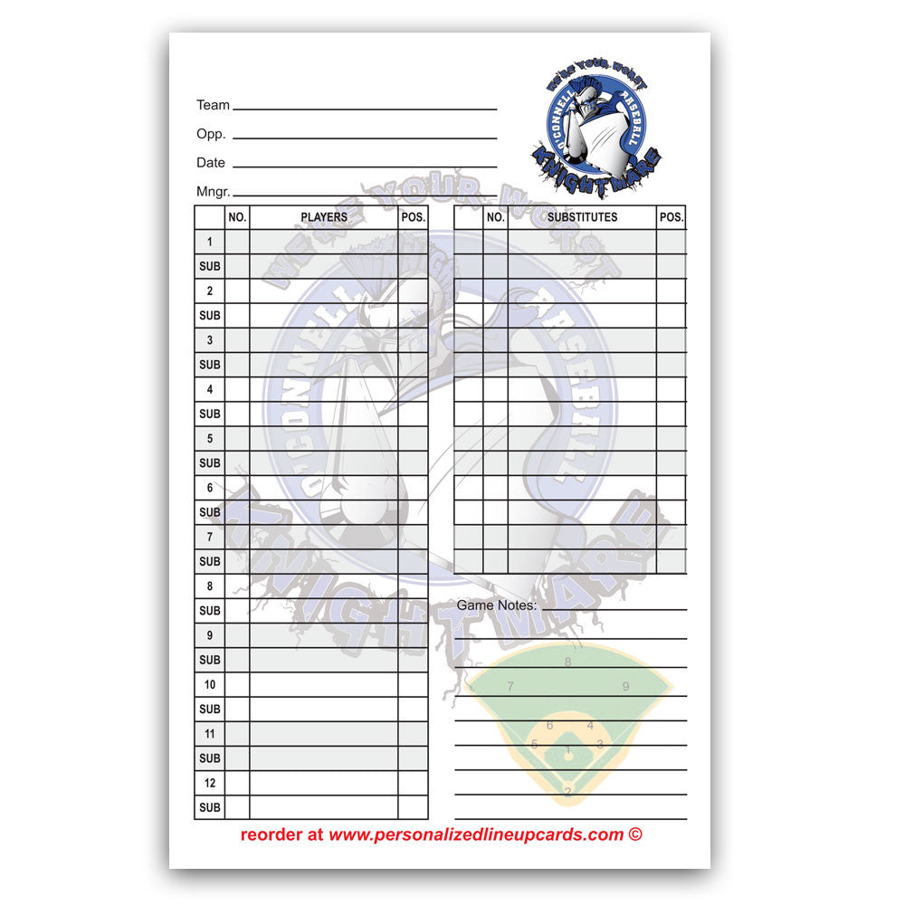 Lineup Cards Made Custom for Baseball and Softball Teams & Leagues Intended For Baseball Lineup Card Template