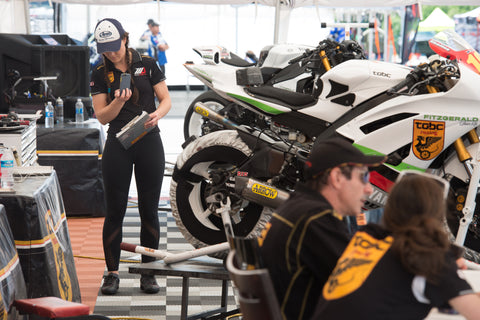 The TOBC Racing Yamaha crew prepares for the day of MotoAmerica Racing.