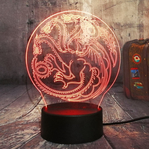 House Targaryen Symbol 3D LED Lamp