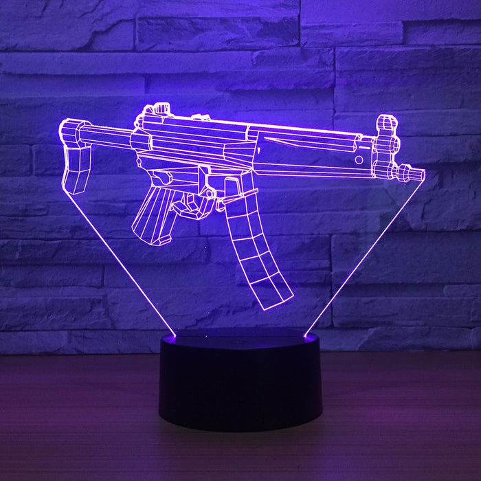Submachine Gun 3D LED Lamp