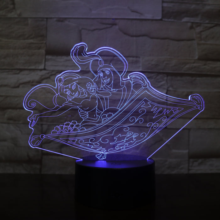Jasmine and Aladdin 3D LED Lamp