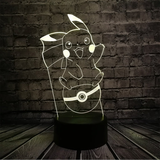 Pikachu on Pokeball 3D LED Lamp